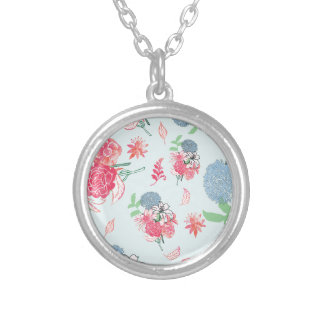 Light Blue Floral Pattern Design Silver Plated Necklace