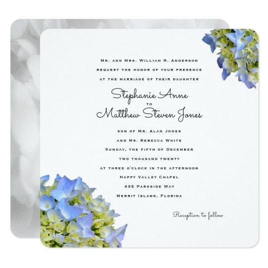 Light Blue Floral Square Wedding Invitation