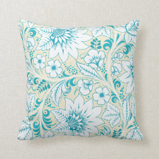 Light Blue Floral Throw Pillow