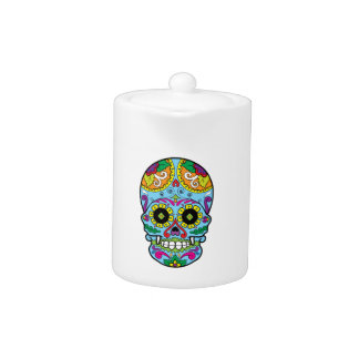 Light Blue Flowers Mexican Tattoo Sugar Skull