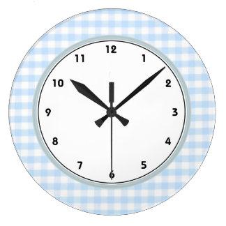 Light blue gingham pattern large clock