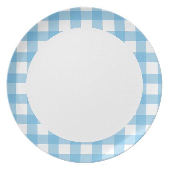 Light Blue Gingham Plate
