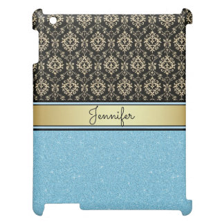 Light blue Glitter, Black Gold Swirls Damask name Cover For The iPad