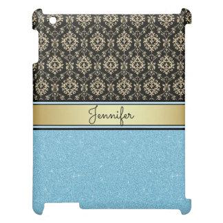 Light blue Glitter, Black Gold Swirls Damask name Cover For The iPad