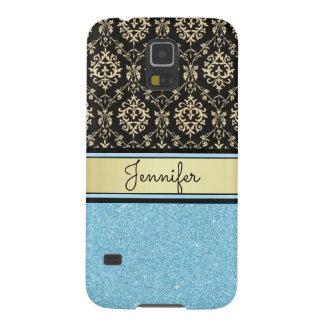 Light blue Glitter, Black Gold Swirls Damask name Galaxy S5 Covers