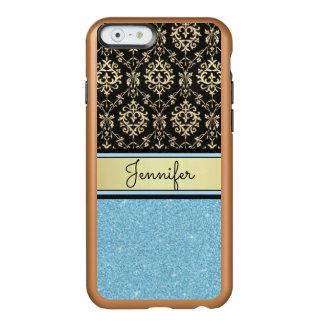 Light blue Glitter, Black Gold Swirls Damask name Incipio Feather® Shine iPhone 6 Case