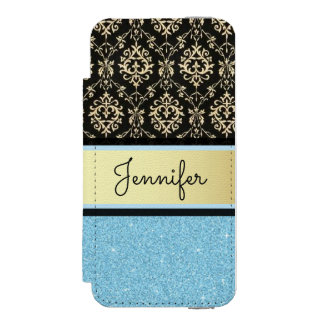 Light blue Glitter, Black Gold Swirls Damask name Incipio Watson™ iPhone 5 Wallet Case