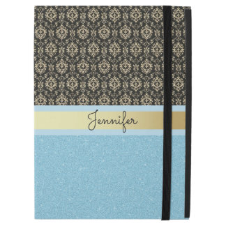 "Light blue Glitter, Black Gold Swirls Damask name iPad Pro 12.9"" Case"