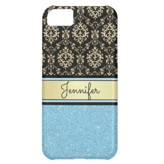 Light blue Glitter, Black Gold Swirls Damask name iPhone 5C Covers