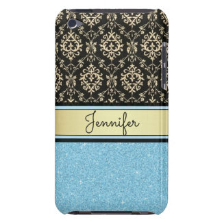 Light blue Glitter, Black Gold Swirls Damask name iPod Case-Mate Cases