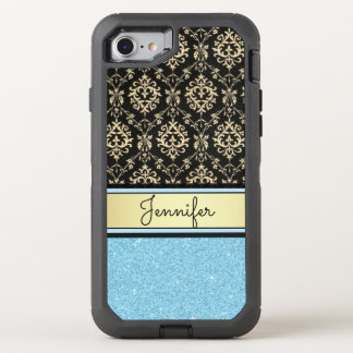 Light blue Glitter, Black Gold Swirls Damask name OtterBox Defender iPhone 7 Case
