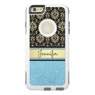 Light blue Glitter, Black Gold Swirls Damask name OtterBox iPhone 6/6s Plus Case