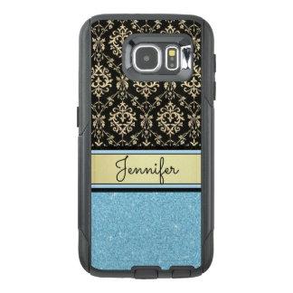 Light blue Glitter, Black Gold Swirls Damask name OtterBox Samsung Galaxy S6 Case