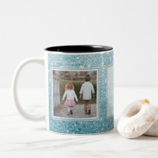 Light Blue Glitter Pictures & Text Design Your Own Two-Tone Coffee Mug