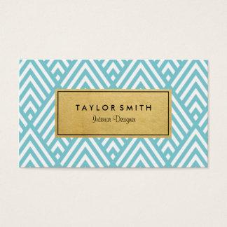 Light Blue & Gold Chevron Pattern Business Card
