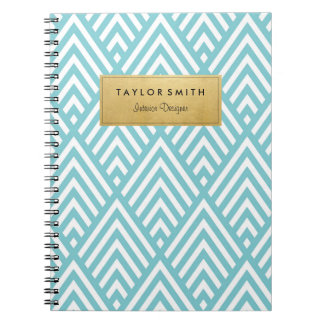 Light Blue & Gold Chevron Pattern Notebook