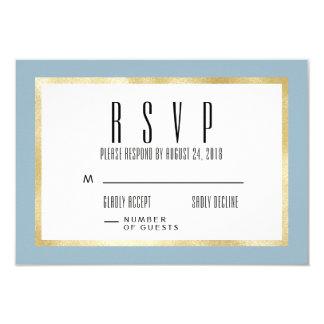 Light Blue + Gold Classic Wedding Invite RSVP Card