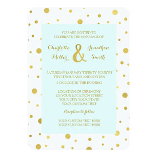 Light Blue Gold Confetti Wedding Invitations