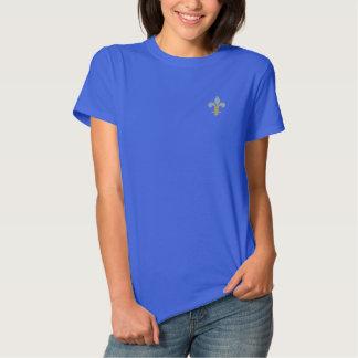 Light Blue&  Gold Fleur-de-lis Embroidered Shirt