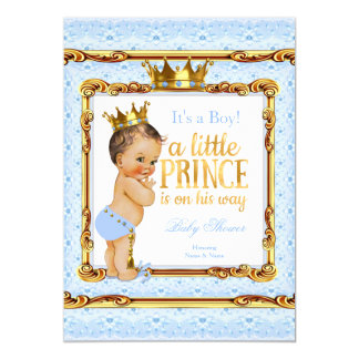 "Light Blue Gold White Prince Baby Shower Brunette 5"" X 7"" Invitation Card"