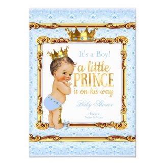Light Blue Gold White Prince Baby Shower Brunette Card