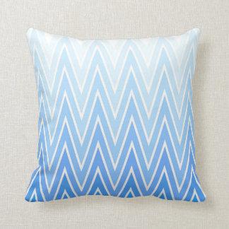 Light Blue Gradient Ombre Chevron Pattern Throw Pillow