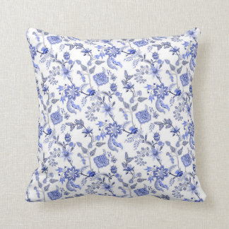 Light Blue Gray and White Floral Chintz Decorator Throw Pillow