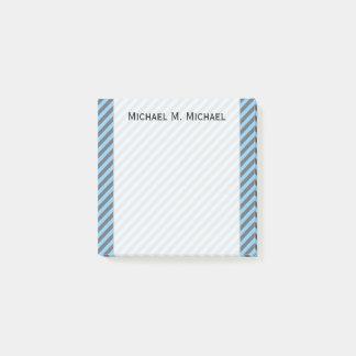 Light Blue & Gray Stripes Pattern + Custom Name Post-it Notes