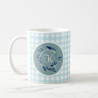 Light Blue Green Gingham Plaid Monogrammed Wreath Coffee Mug