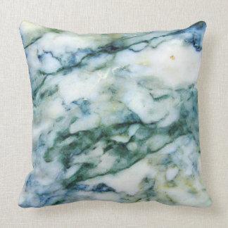 Light Blue-Green & Grey Faux Marble Print Throw Pillow