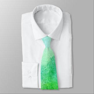 Light Blue & Green Watercolor Wedding Tie