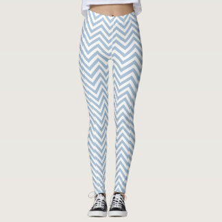 Light Blue Grunge Textured Chevron Leggings
