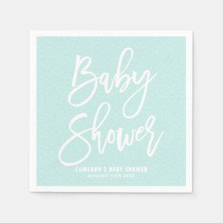 Light Blue Hand Lettered Baby Shower Paper Napkins