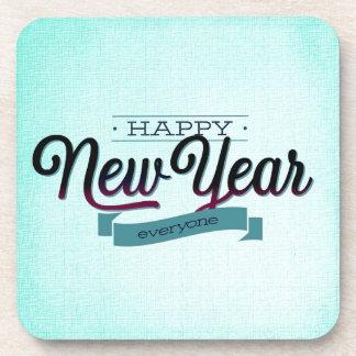 Light Blue Happy New Year Drink Coaster