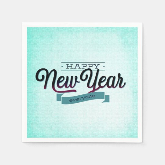Light Blue Happy New Year Everyone Paper Napkins