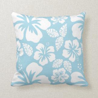 Light Blue Hawaiian Tropical Hibiscus Throw Pillow