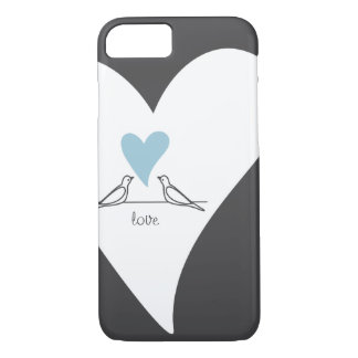 Light Blue Heart White Doves in Love Rustic Modern iPhone 7 Case