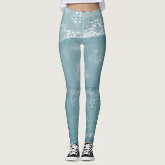 Light blue lace print abstract pattern leggings