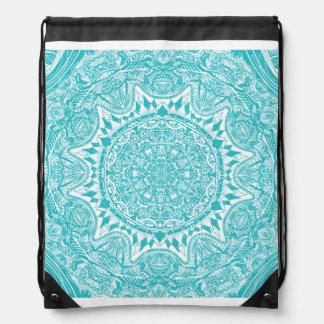Light Blue Mandala Pattern Drawstring Bag