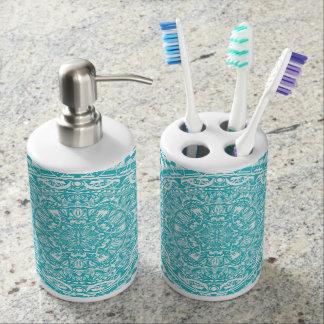 Light Blue Mandala Pattern Soap Dispenser And Toothbrush Holder