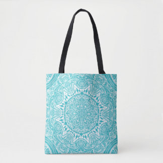 Light Blue Mandala Pattern Tote Bag