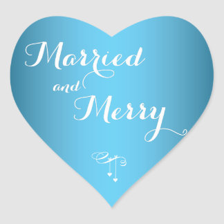 Light Blue Married And Merry Christmas Stickers
