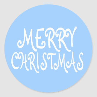 Light Blue Merry Christmas Stickers