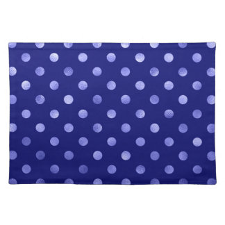Light Blue Metallic Faux Foil Polka Dot Bright Placemat