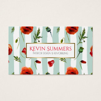 Light Blue Modern Stripes & Red Poppies pattern Business Card