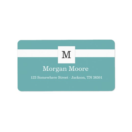 Light Blue Monogram Style Address Labels