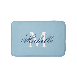 Light blue monogrammed bath mat | bathroom decor