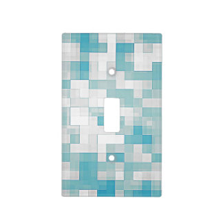 Light Blue Mosaic Tiles Pattern Light Switch Cover