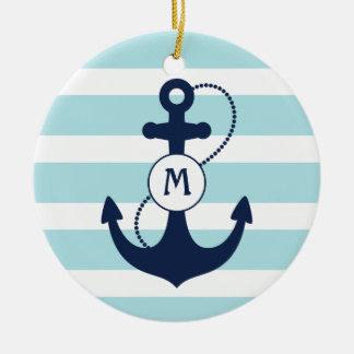 Light Blue Nautical Anchor Monogram Ceramic Ornament