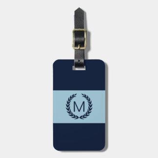 Light blue & Navy Stripe Laurel Wreath Monogram Luggage Tag